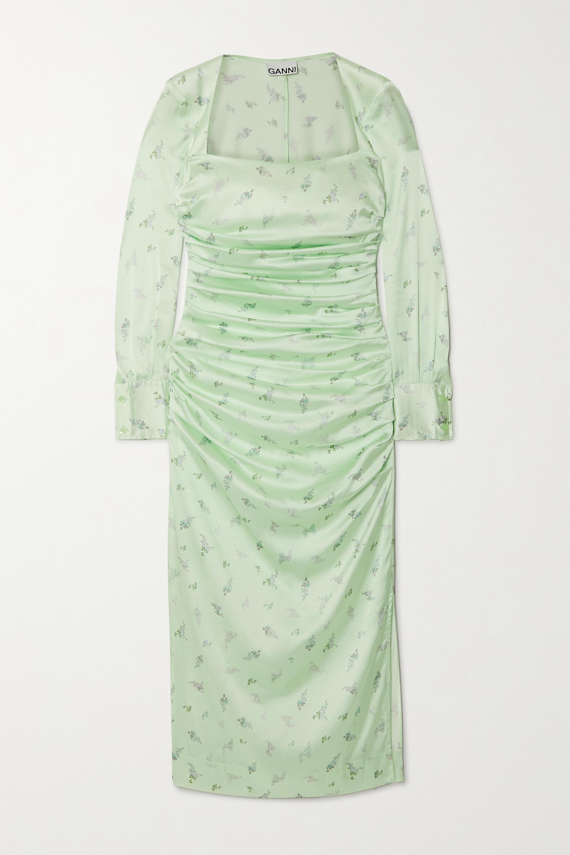 GANNI Ruched floral-print stretch-silk satin midi dress