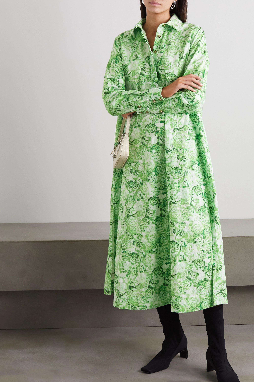 GANNI Floral-print cotton-poplin midi shirt dress