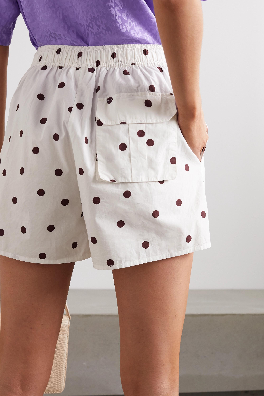 GANNI Polka-dot cotton-poplin shorts