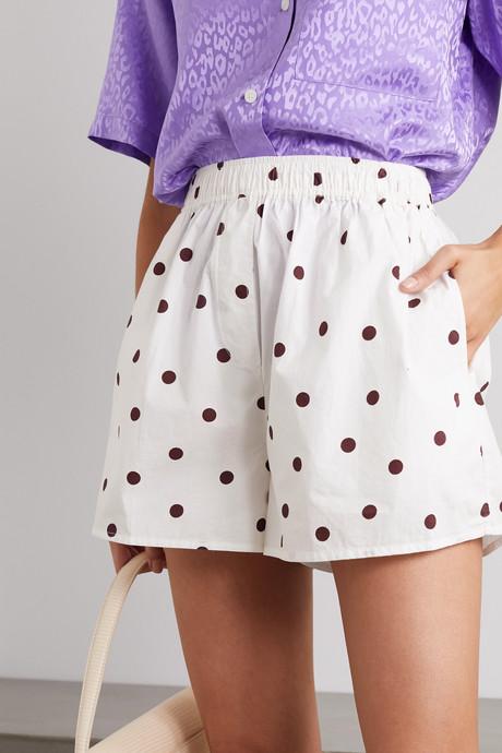 Polka-dot cotton-poplin shorts