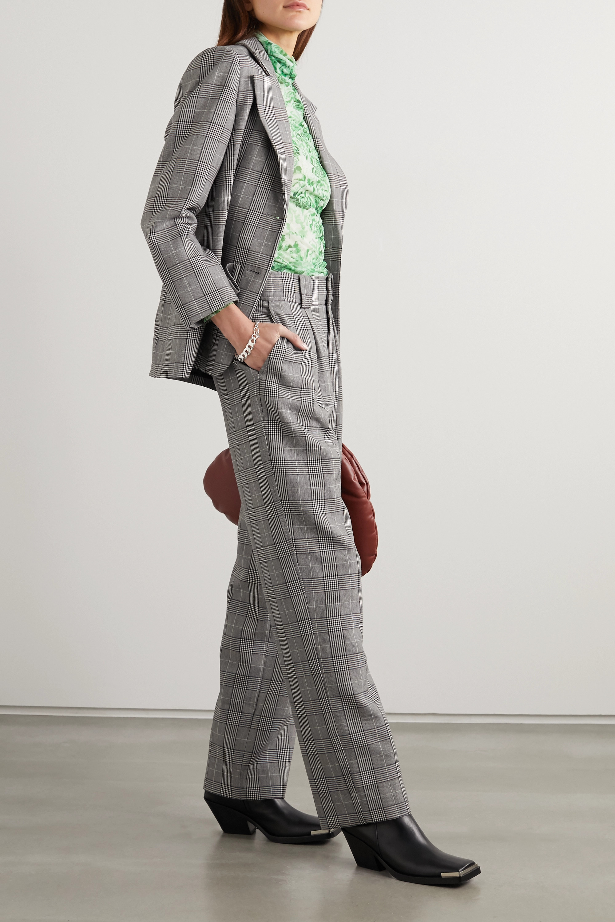 GANNI Prince of Wales checked woven wide-leg pants