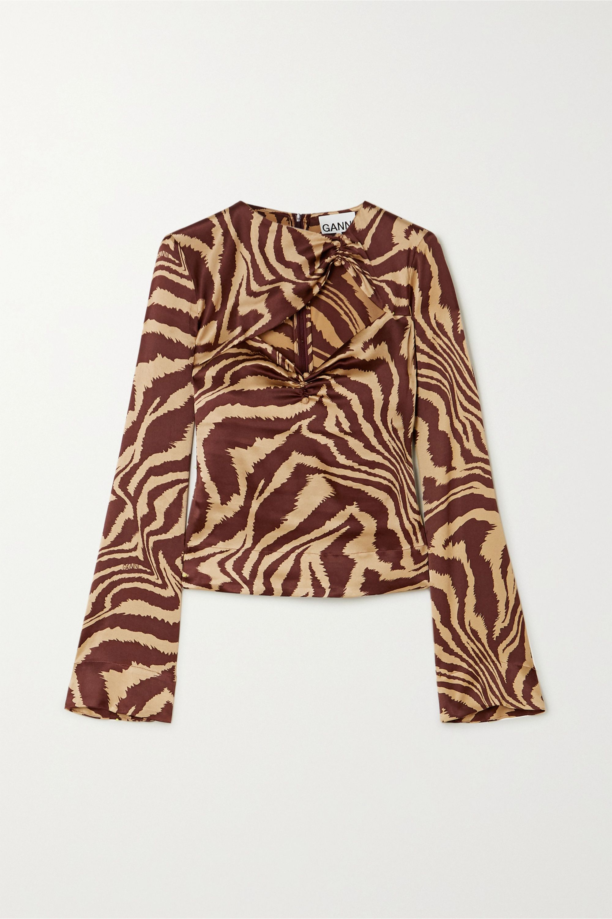 GANNI Cutout ruched zebra-print stretch-silk satin top