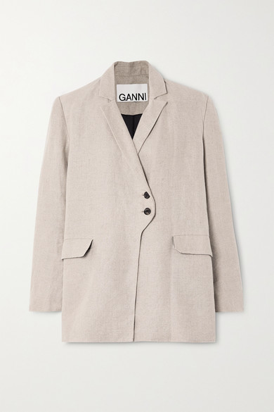 Ganni Wrap-detail Blazer Jacket In Beige