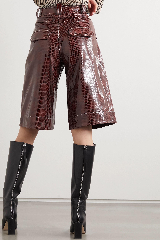 GANNI Snake-effect coated-leather shorts
