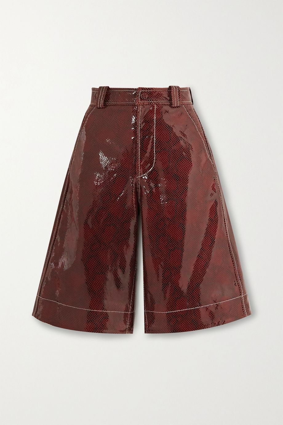 GANNI Snake-effect coated-leather shorts