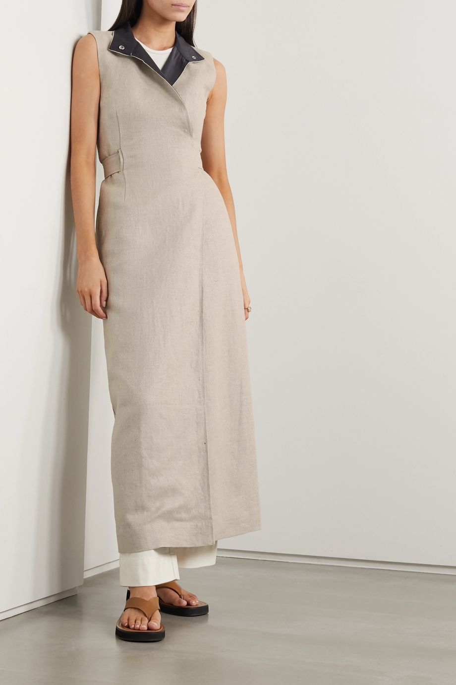 GANNI Belted linen wrap dress