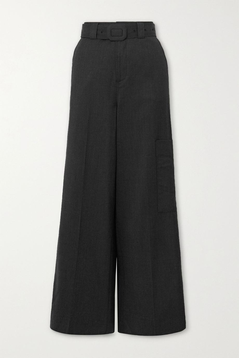 GANNI Belted wool wide-leg pants