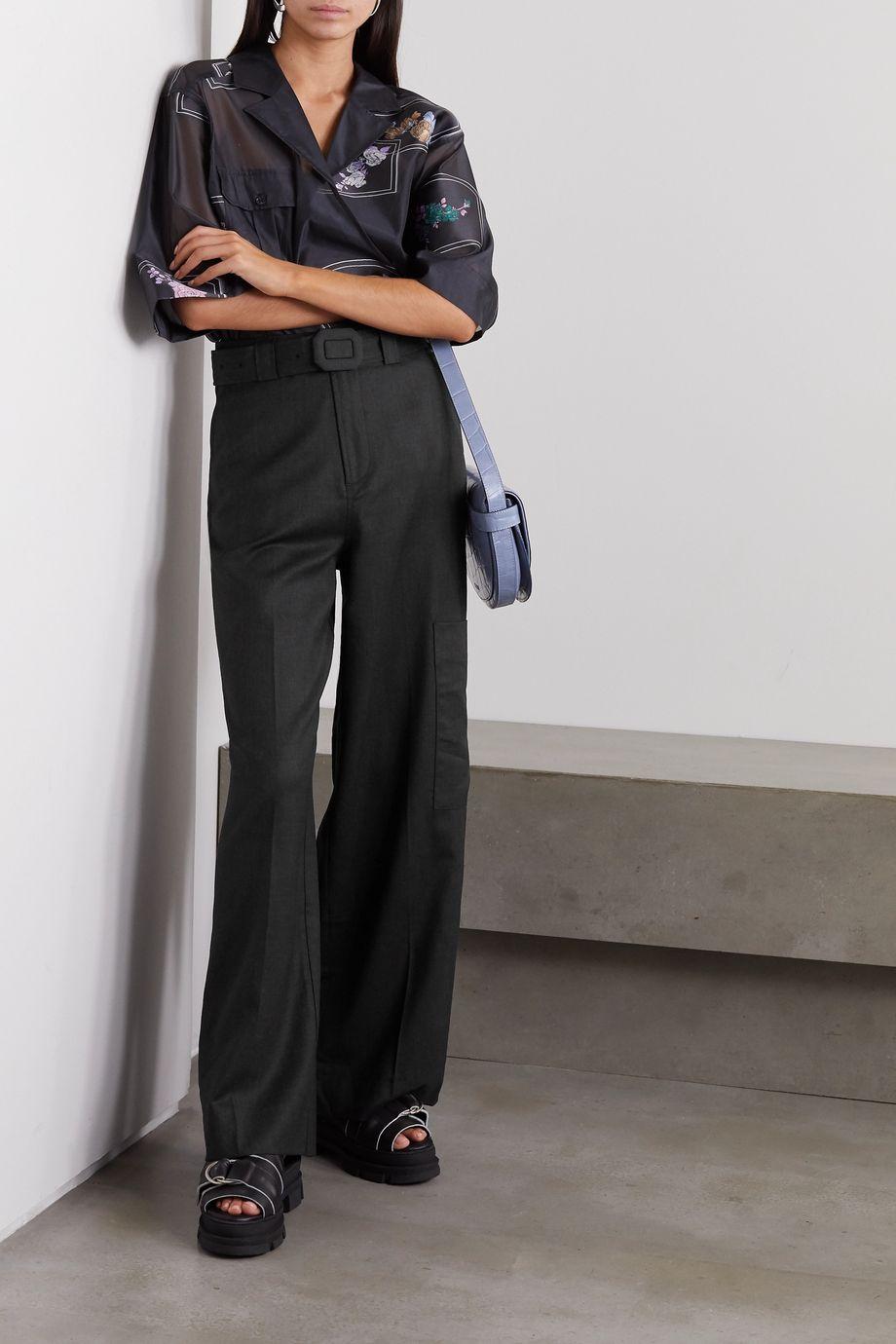 GANNI Wollhose mit weitem Bein und Gürtel