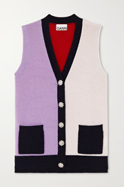 GANNI Crystal-embellished color-block cashmere vest