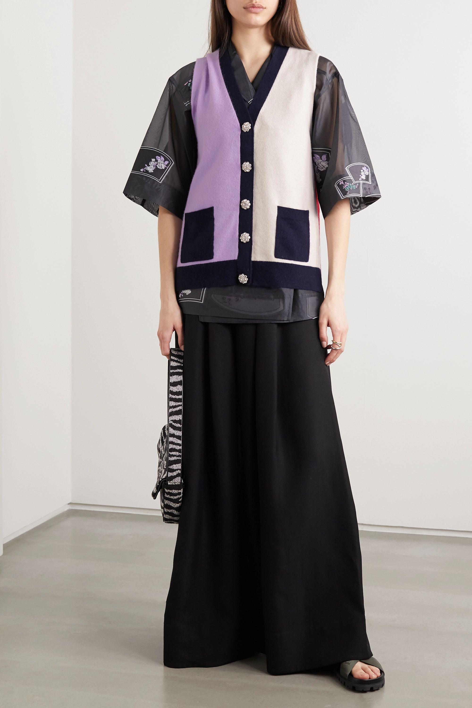 GANNI Crystal-embellished color-block cashmere vest