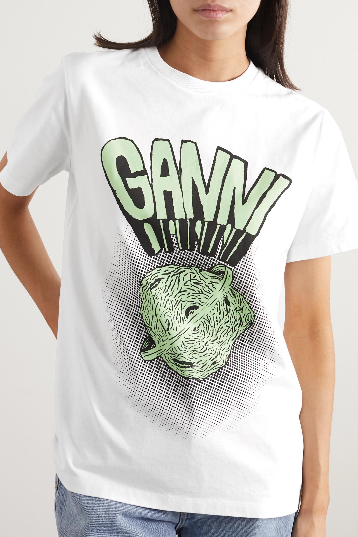 GANNI Printed cotton-jersey T-shirt
