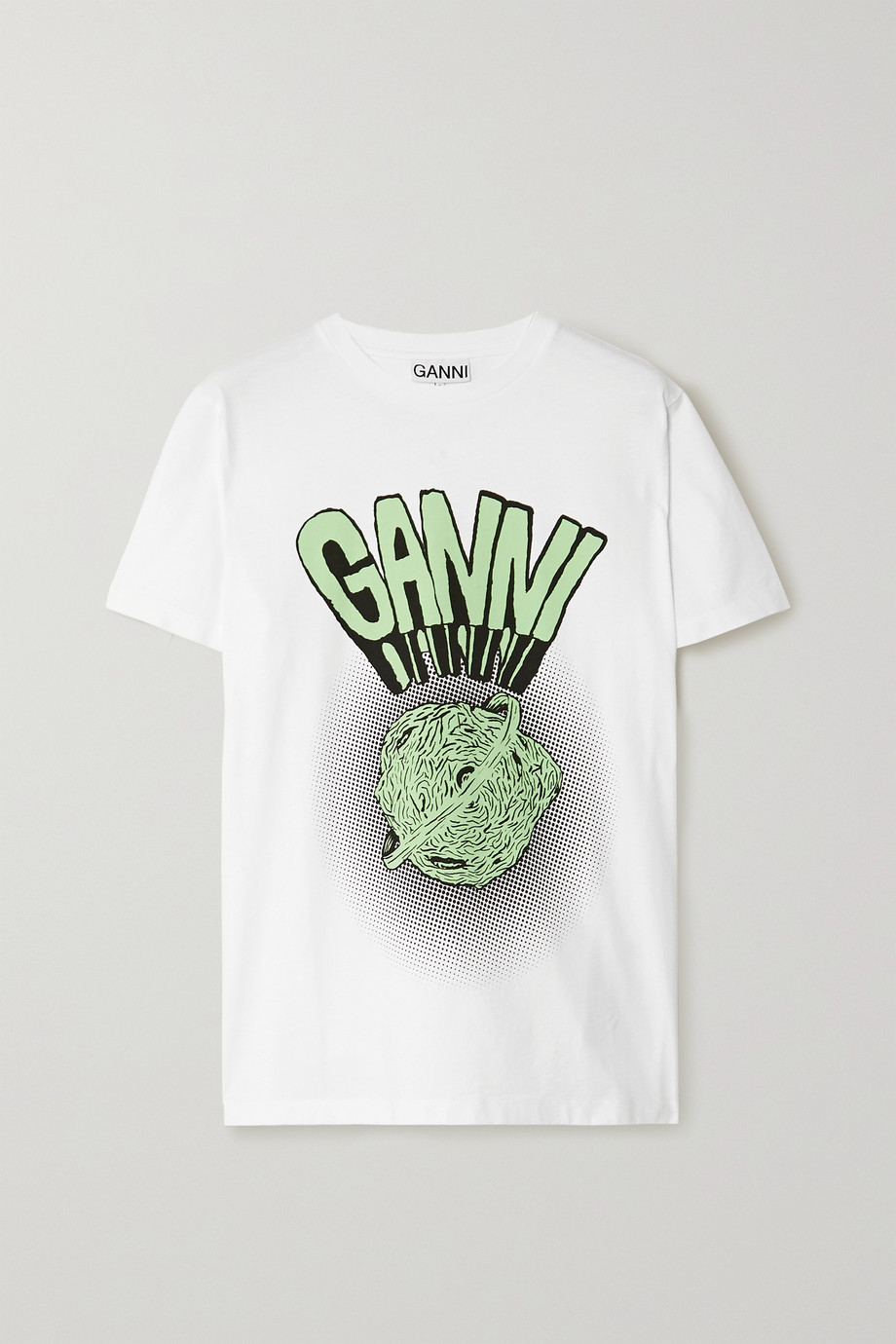 GANNI Printed cotton-jersey T-shirt