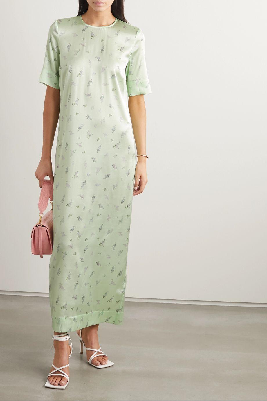 GANNI Floral-print stretch-silk satin dress