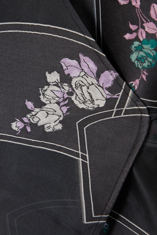 GANNI Floral-print organza wrap shirt