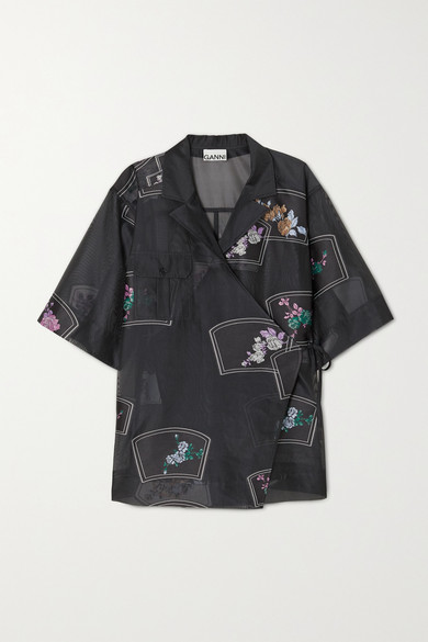 Ganni Floral-embroidered Organza Wrap Shirt In Black