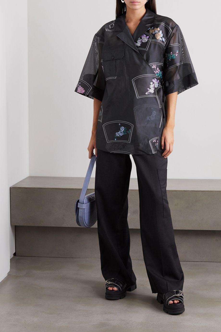GANNI Wickelhemd aus Organza mit Blumenprint
