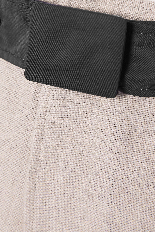GANNI Shell-trimmed linen wide-leg pants