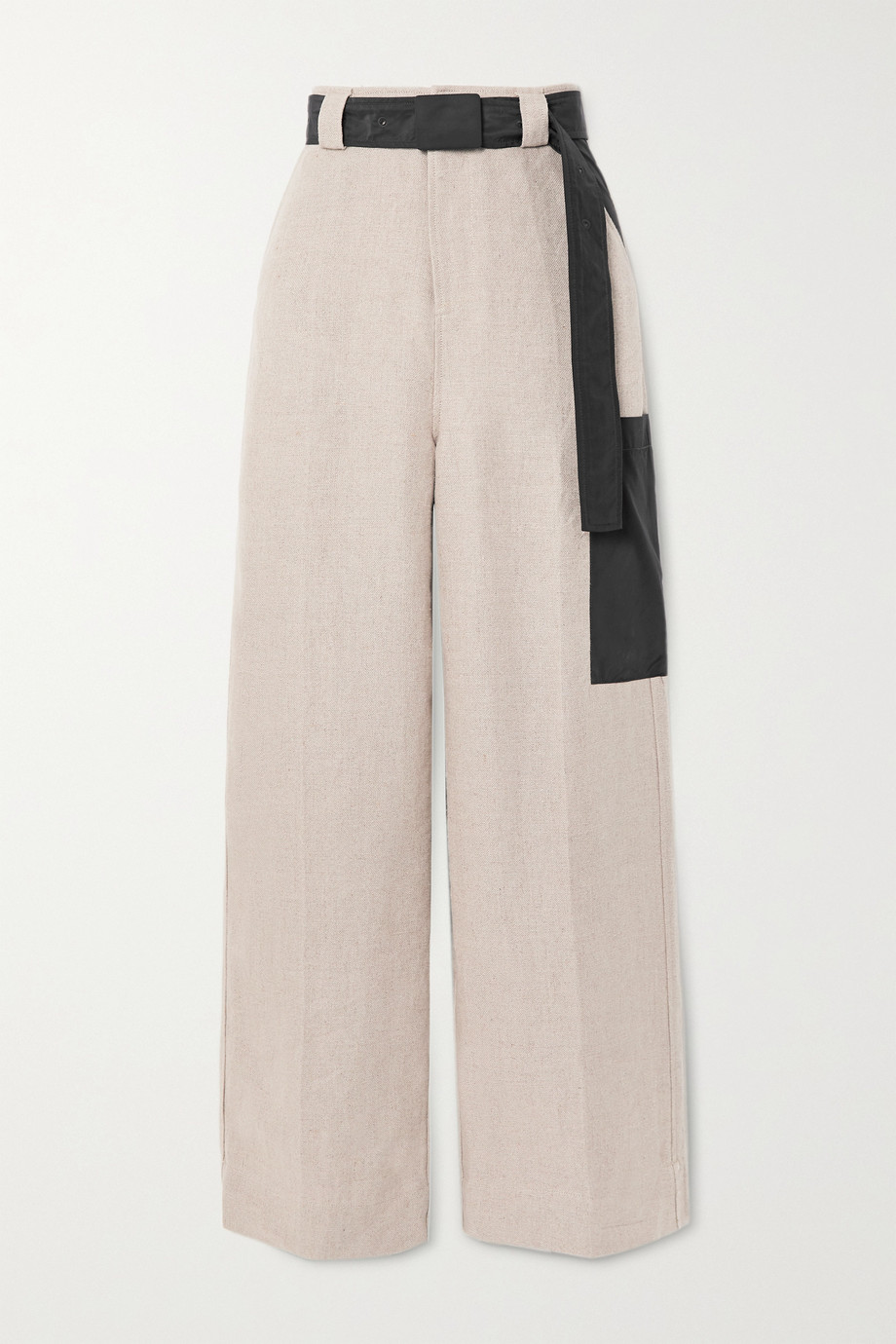 GANNI Shell-trimmed linen wide-leg pants
