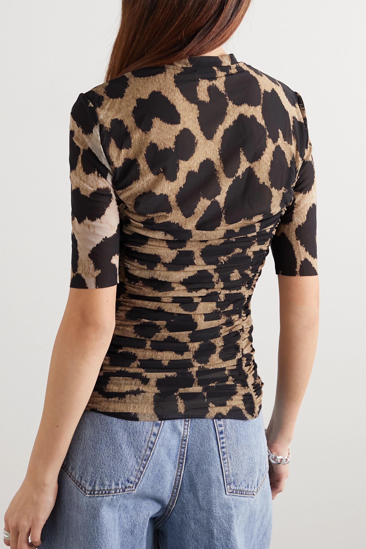 GANNI 褶饰豹纹弹力网布 T 恤