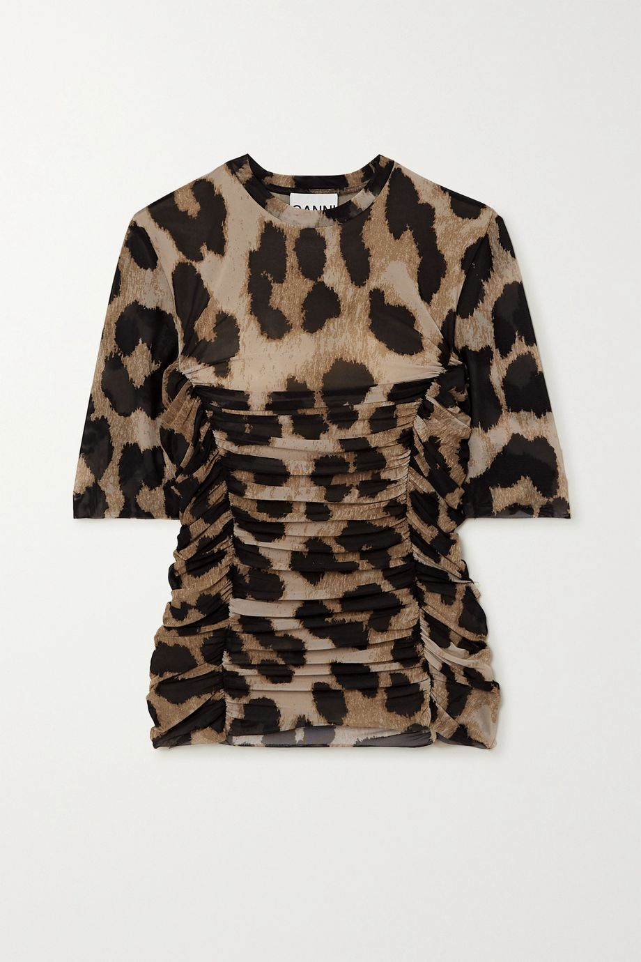 GANNI Ruched leopard-print stretch-mesh T-shirt