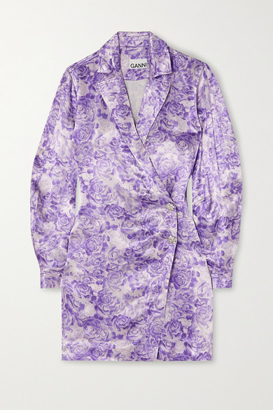 Ganni Long Sleeve Floral Satin Wrap Minidress In Violet