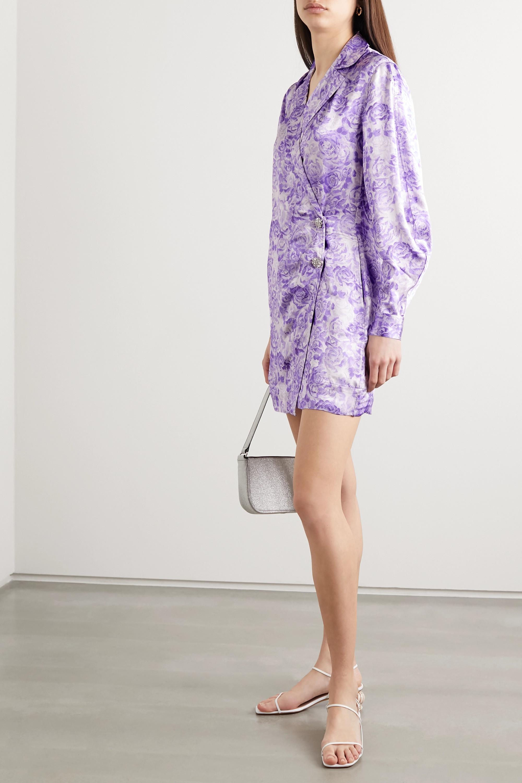 GANNI Floral-print satin mini wrap dress