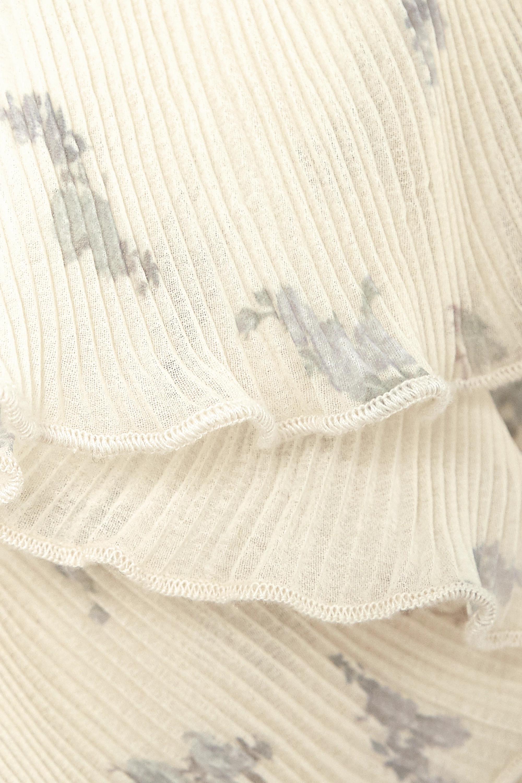GANNI + NET SUSTAIN Oberteil aus plissiertem Georgette mit Blumenprint und Volants