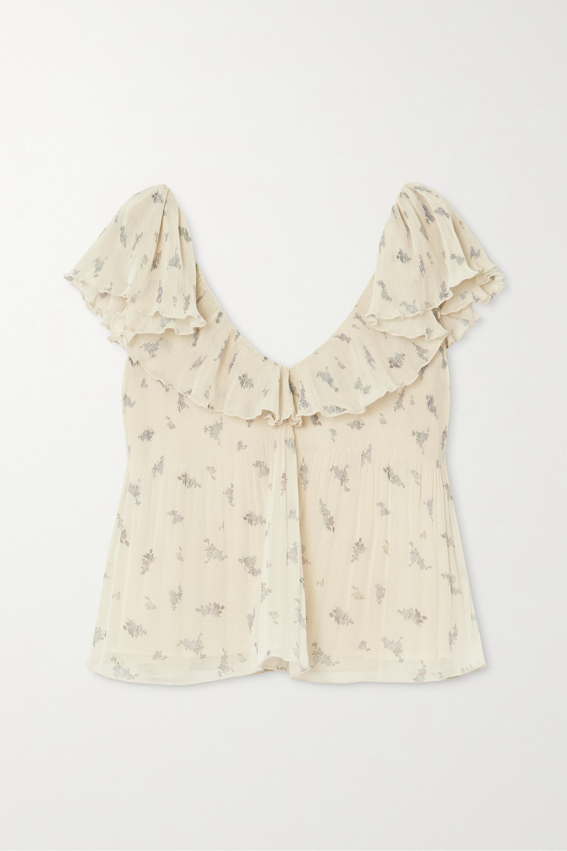 GANNI + NET SUSTAIN ruffled floral-print plissé-georgette blouse