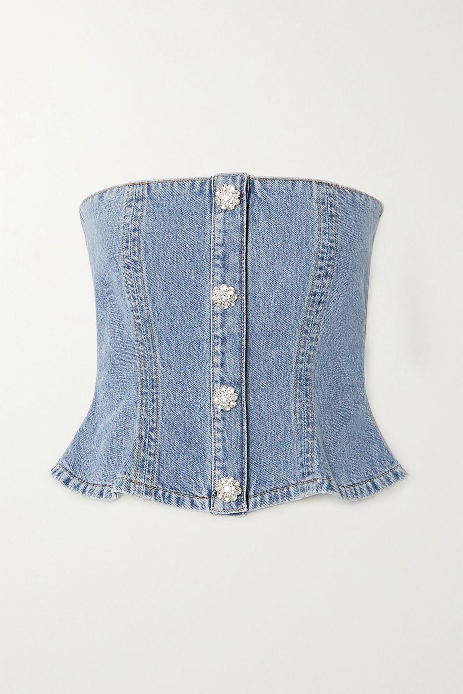 GANNI Crystal-embellished denim bustier top