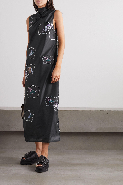 GANNI Floral-print organza midi dress