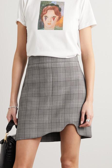 Asymmetric Prince of Wales checked woven mini skirt