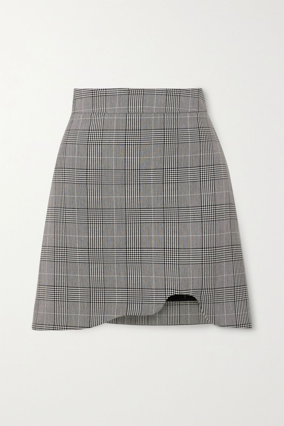 GANNI Asymmetric Prince of Wales checked woven mini skirt