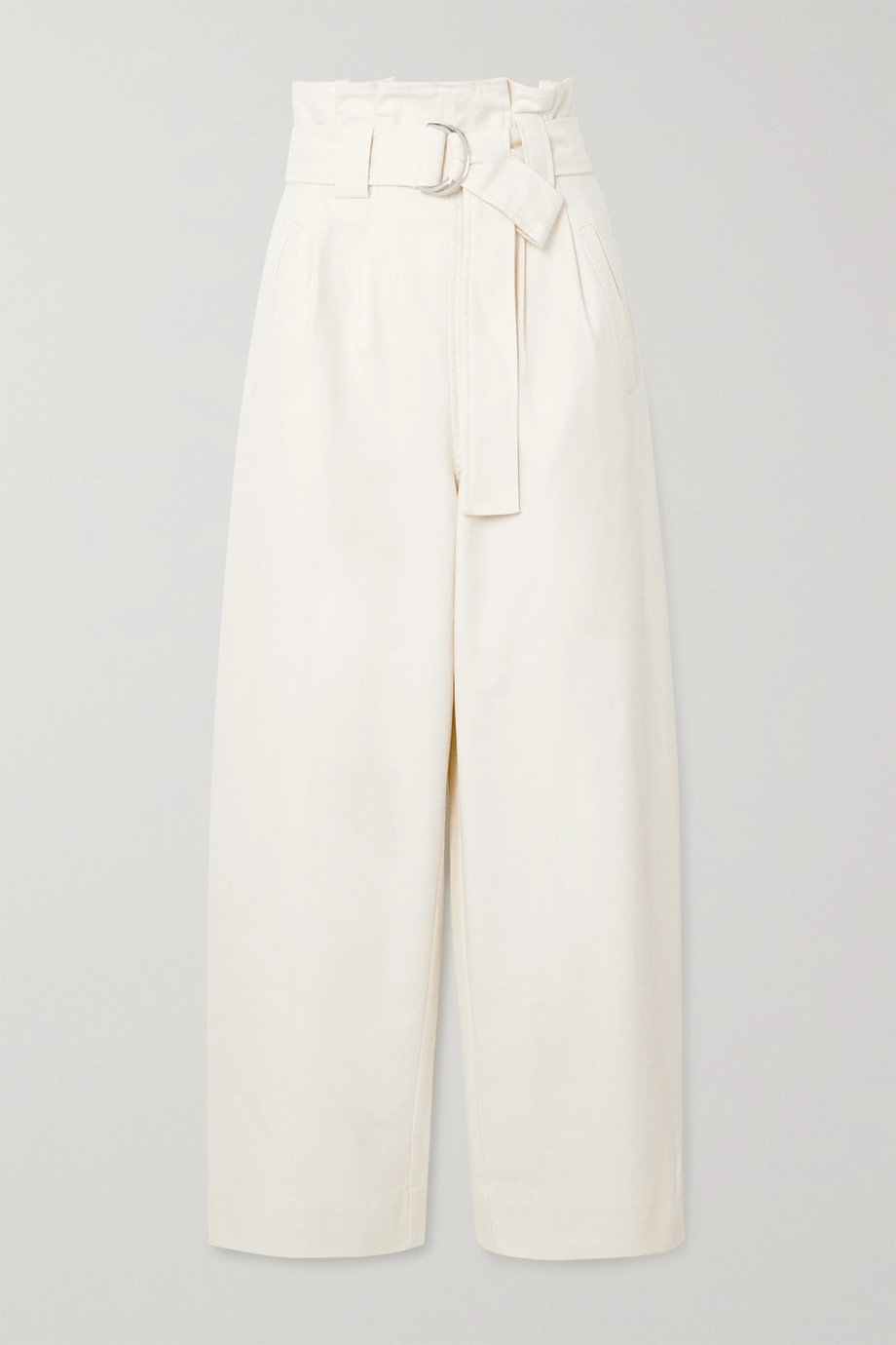 GANNI Belted cotton-blend drill wide-leg pants