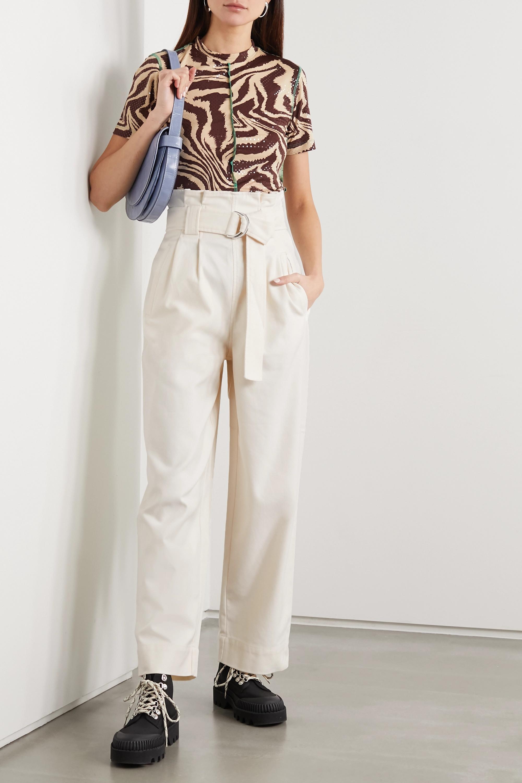 GANNI Hose mit weitem Bein aus Drillich aus einer Baumwollmischung mit Gürtel