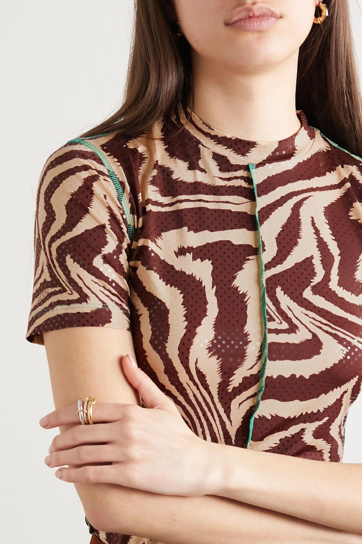 GANNI Zebra-print stretch-jersey T-shirt