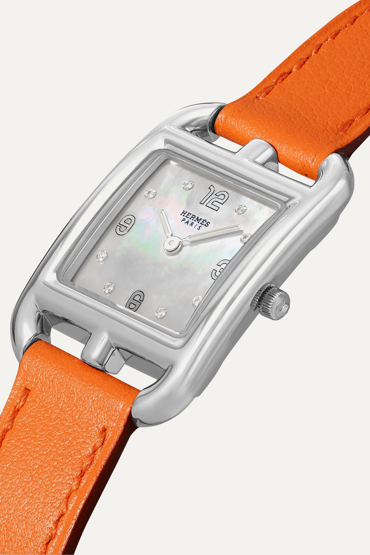 Hermès Timepieces Cape Cod 23 mm kleine Uhr aus Edelstahl mit Perlmutt, Diamanten und Lederarmband