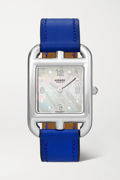 Silver Cape Cod 23mm small stainless steel, leather, mother-of-pearl and diamond watch | Hermès Timepieces B7I89R