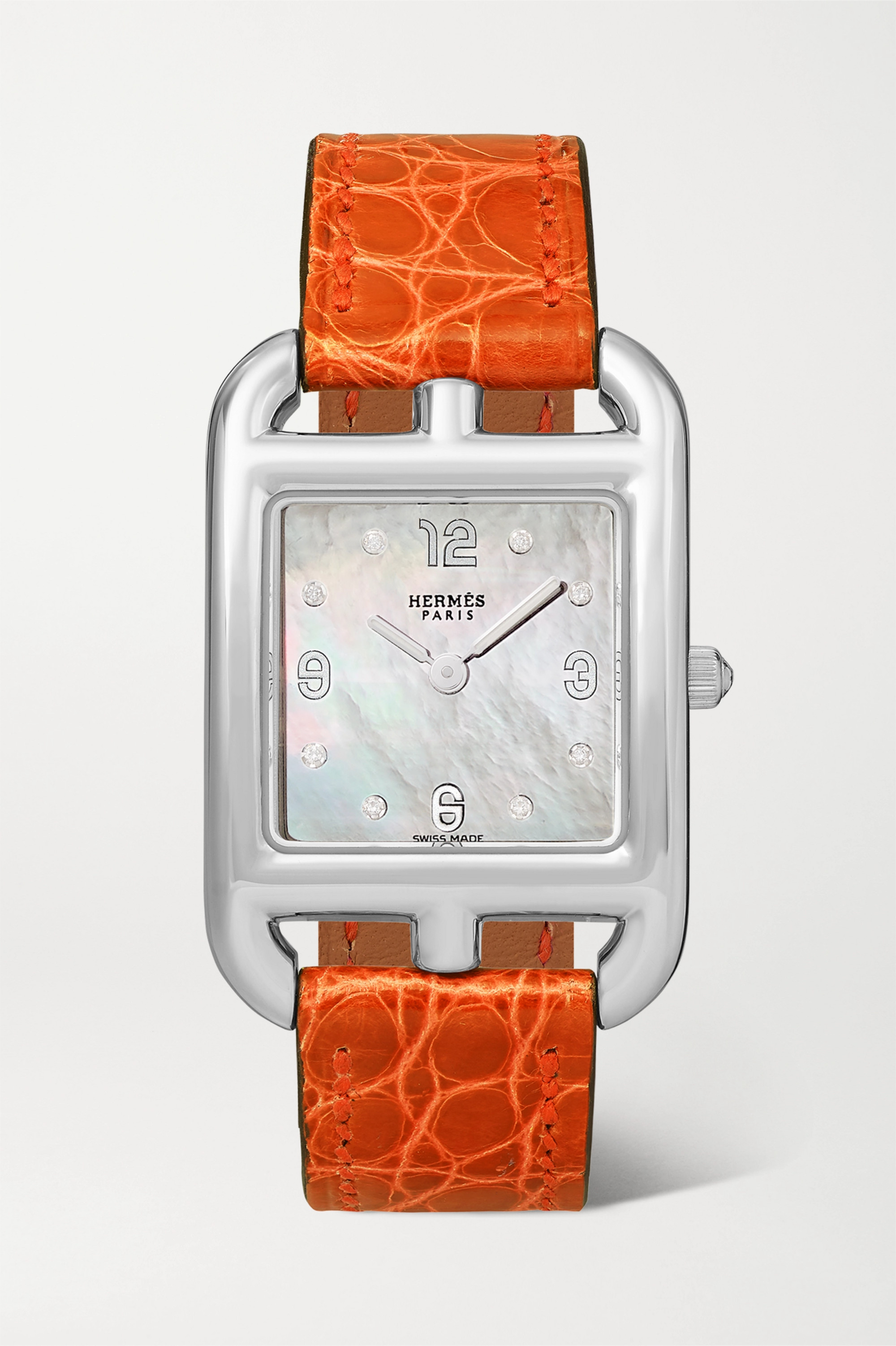 Hermès Timepieces Cape Cod 23 mm kleine Uhr aus Edelstahl mit Perlmutt, Diamanten und Alligatorlederarmband