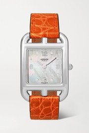Hermès Timepieces Cape Cod 23mm small stainless steel, alligator, mother-of-pearl and diamond watch