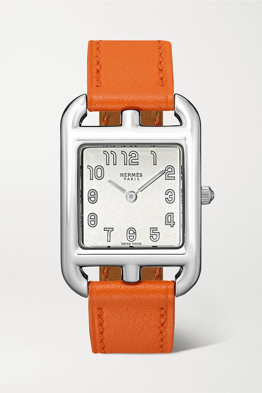 Hermès Timepieces Cape Cod 23 mm kleine Uhr aus Edelstahl mit Lederarmband