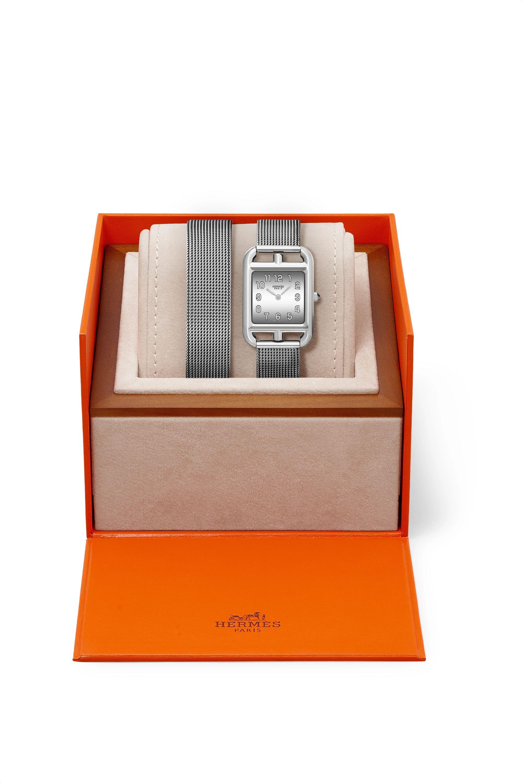Argenté Montre En Acier Inoxydable Cape Cod Double Tour Small 23 Mm | Hermès Timepieces
