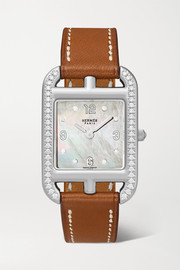 Hermès timepieces Cape Cod 23mm small stainless steel, leather, mother-of-pearl and diamond watch