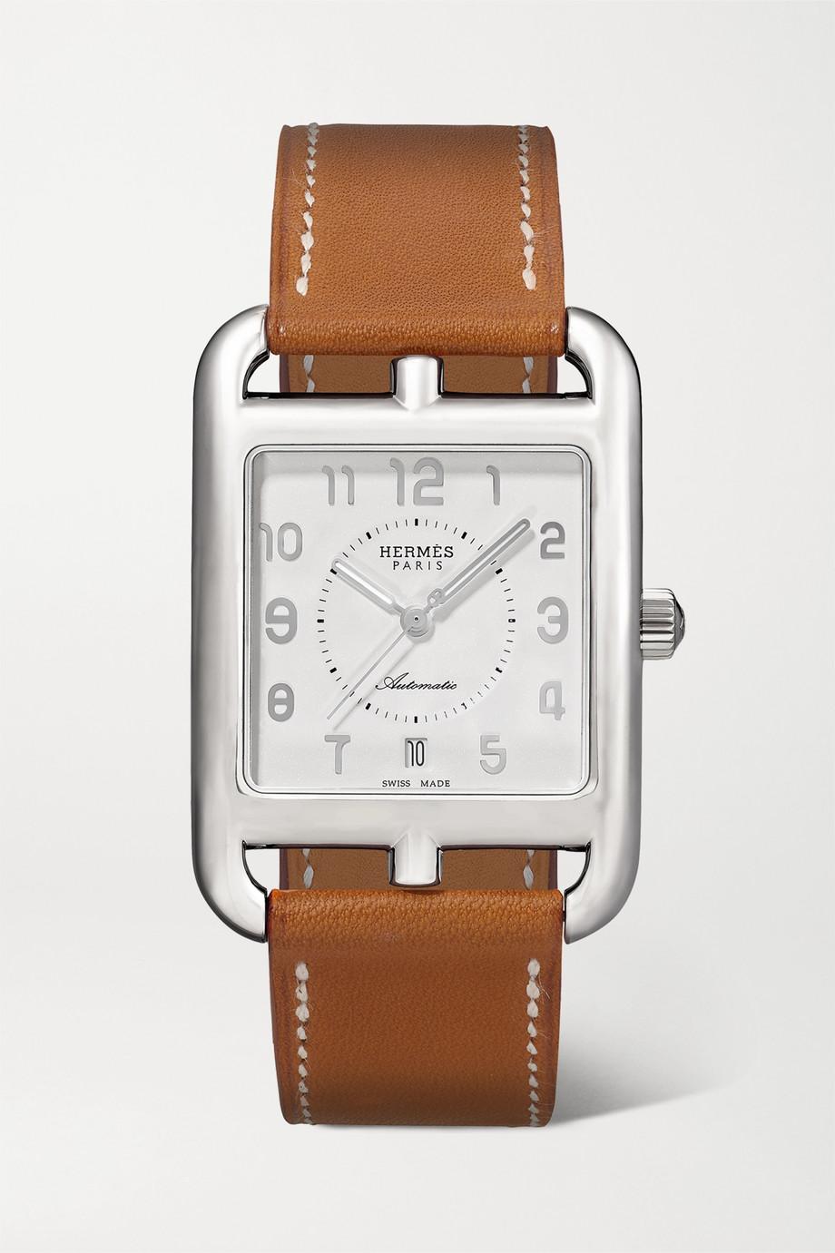 Hermès Timepieces Cape Cod Automatic 29 mm große Uhr aus Edelstahl mit Lederarmband
