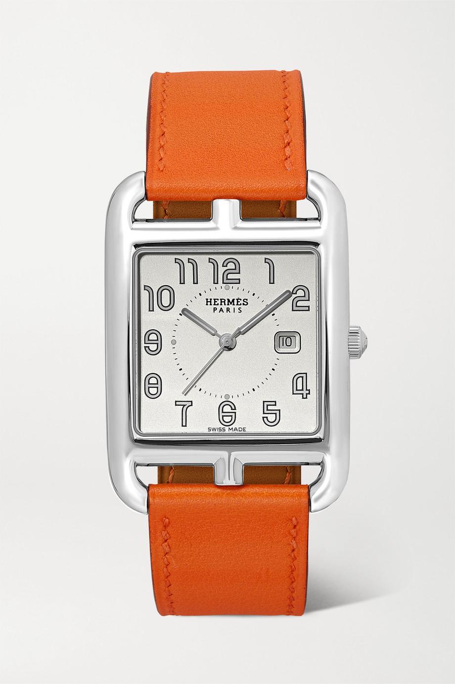 Hermès Timepieces Cape Cod 29 mm große Uhr aus Edelstahl mit Lederarmband