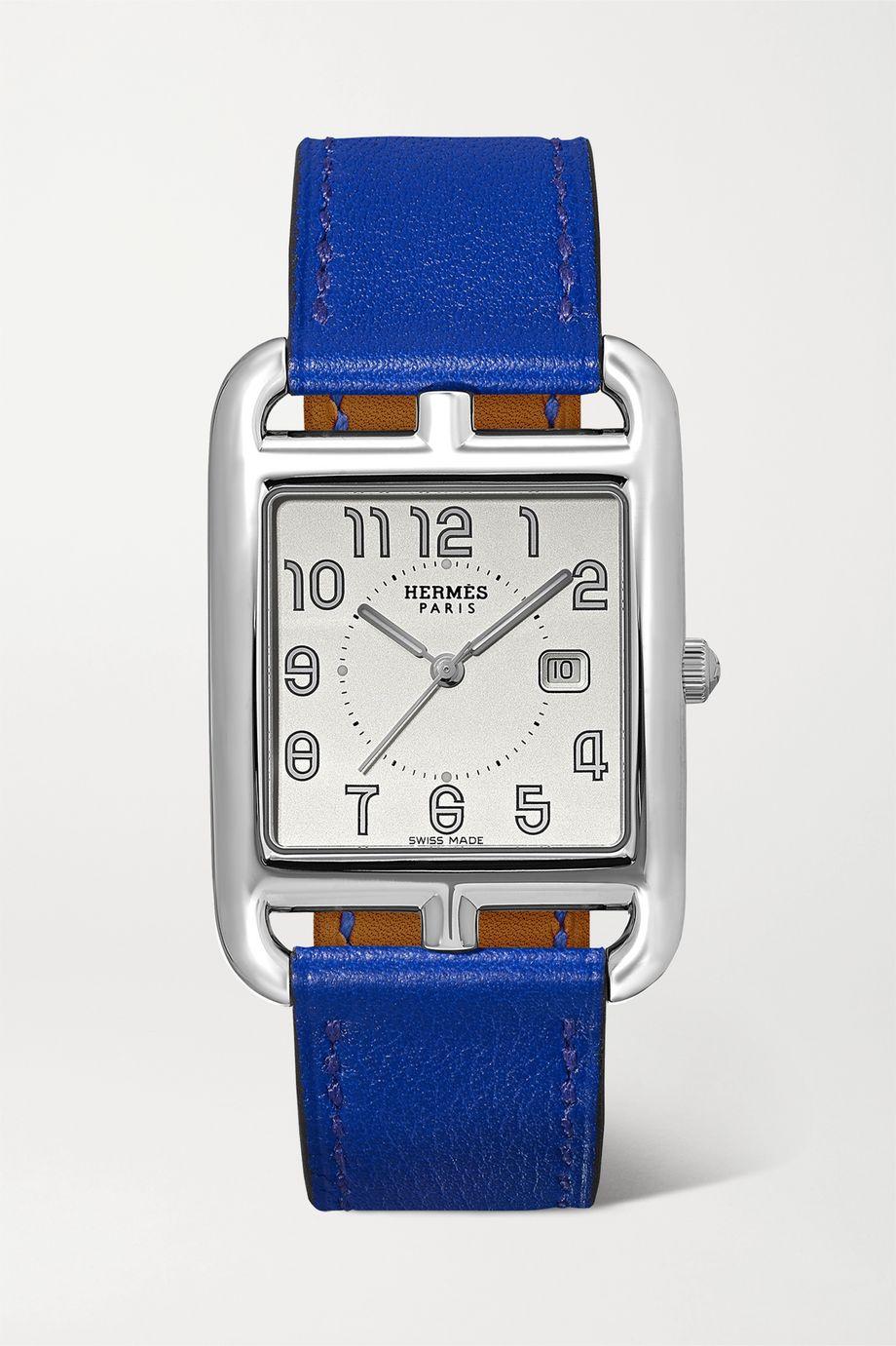 Hermès Timepieces Cape Cod 29 mm mittelgroße Uhr aus Edelstahl mit Lederarmband