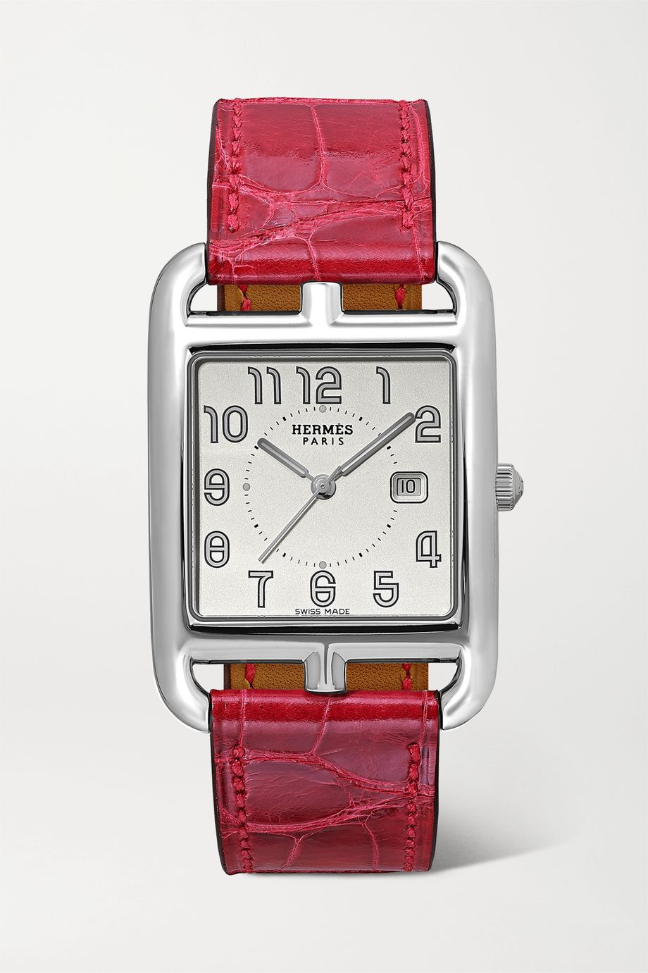 Hermès Timepieces Montre en acier inoxydable à bracelet en alligator Cape Cod Large 29 mm