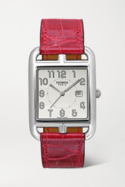 Hermès timepieces Cape Cod 29mm large stainless steel and alligator watch