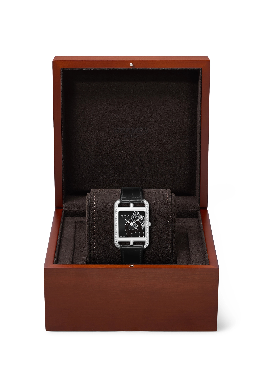 Hermès Timepieces Cape Cod 29mm medium stainless steel, alligator and diamond watch