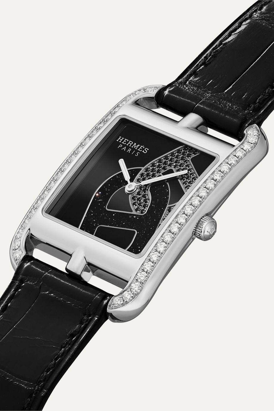 Hermès Timepieces Cape Cod 29mm medium stainless steel, alligator and diamond watch