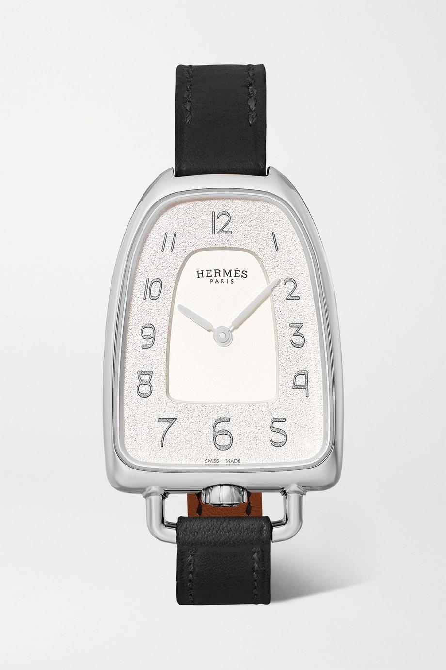 Hermès Timepieces Galop d'Hermès 26 mm mittelgroße Uhr aus Edelstahl mit Lederarmband